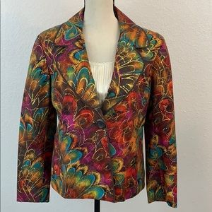 Chico's Abstract Colorful Floral Pattered Blazer